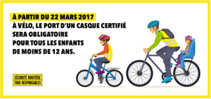 le casque obligatoire pour les enfants de moins de 12 ans à vélo